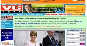 Screenshot from www.vg.no